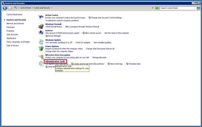 Administrative Toolsをクリック