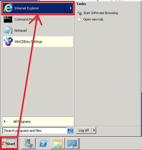 Internet Explorerをクリック