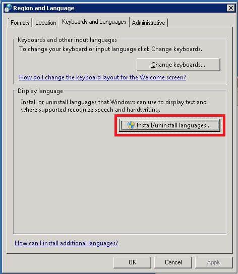 Install/uninstall languages...をクリック