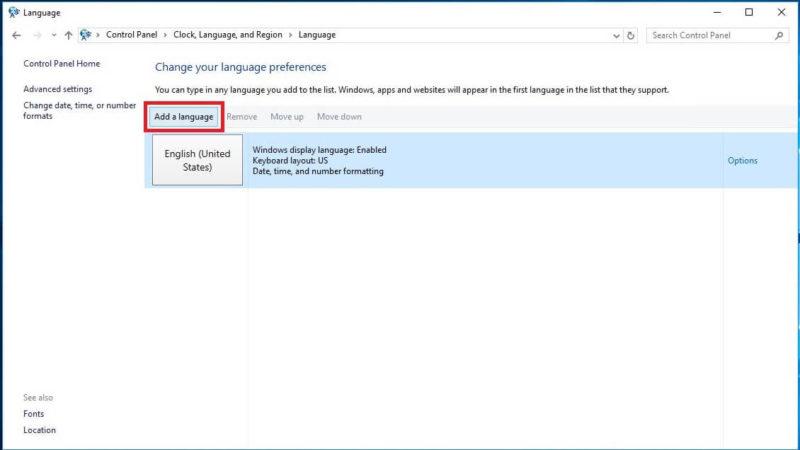 Add a languageをクリック