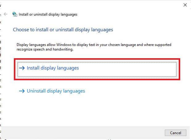 Install display languagesをクリック
